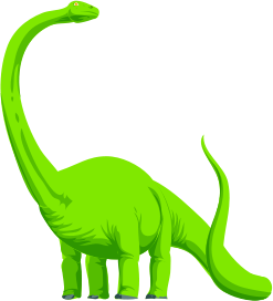 A green dinosaur with its head raised