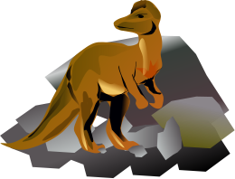 A dinosaur in front of rocks